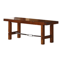 Homelegance - Homelegance Clayton 54 Inch Bench in Dark Oak - Blending industrial and transitional style is the Clayton collection. Clean lines and the dark oak finish on pine veneers give the group a classic look, while, the rod and turnbuckle accents on the table base and bench add the industrial flair so popular today. Planking is used to further achieve the design elements on both the table top and coordinating china curio. Glass fronted-door storage as well as Wine rack and drawers complete the look of the curio.