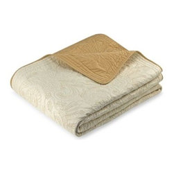 Nostalgia Home - Vallejo Ivory Bedspread - This luxurious bedspread features a contrast stitch and embroidered design. Change up the look of your room by simply reversing the bedspread, which is ivory on one side and ecru on the other.