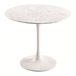 Fine Mod Imports - Flower Side Table with White Marble Top - Features: