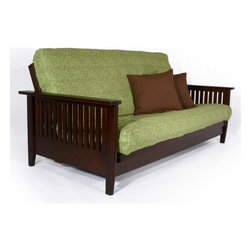 Strata Furniture - Carriage Denali Futon Frame - Features: -Futon frame. -Carriage collection. -Dark cherry finish. -Rubberwood construction. -Wall hugger technology. -Front loading mechanism allows to convert the frame from sofa to bed quickly and easily. -Slightly rounded slats give this frame a strong and elegant look. -Mattress sold separately. -Assembly required. -5 years warranty.