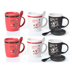 "Concepts Life - Concepts Life Coffee Mugs with Lids and Spoons  Coffee Talk  Set of 6 - Why can't coffee drinking be ergonomic too! These mugs are a coffee-lover's dream; a lid means no more tepid java, and a spoon that's nestled in the mug's handle means you're not searching for that melting plastic spoon at work to stir in your sugar (ssshh, we won't tell!).  Set of 6 coffee mugs with matching lids and spoons Spoons rest in the mug handle Color: 2 red, 2 white and 2 black Materials: Ceramic Capacity: 10 ounces Dimensions: 3.5 inches high and 3.75"" diameter Care instructions: Dishwasher and microwave safe"