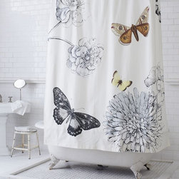 Butterfly Shower Curtain - How could you not feel like you just stepped into the garden with this beautiful and bold print?