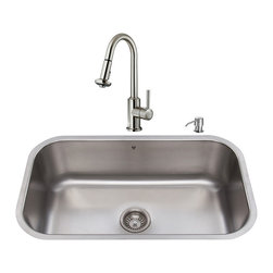 """VIGO Industries - VIGO All in One 30-inch Undermount Stainless Steel Kitchen Sink and Faucet Set - Breathe new life into your kitchen with a VIGO All in One Kitchen Set featuring a 30"""" Undermount kitchen sink, faucet, soap dispenser, matching bottom grid, and sink strainer."""