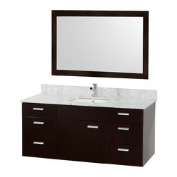 """Wyndham Collection - Wyndham Collection 52"""" Encore Espresso Single Vanity w/ Undermount Square Sink - Featured in the CG Collection by Christopher Grubb, the Encore 52"""" Single Bathroom Vanity combines clean modern design, natural solid marble, and the open spacious feeling of a wall-mount vanity. Six drawers and large center door are all built with soft-close hinges and slides and provide abundant storage. Beautiful choose of counters to match your style. This vanity can be mounted to your perfect height because of the variable wall-mount design. And finally add the Accara 46"""" Mirror for an appealing set."""