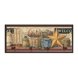 illumalite Designs - Country Welcome Sign Plaque with Pegs - Includes hardware for hanging. Hand painted brown border. Four painted wooden pegs. Ready to be hung. Made from wood. Made in USA. 20.5 in. W x 4 in. D x 7 in. H (3 lbs.)This charming country themed plaque is the perfect addition to any room. This plaque is the ideal size to add a country touch to any wall.