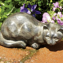 """Achla - Hand Cast Aluminum Garden Kitty Cat Statue - This lovable Hand Cast Aluminum Garden Kitty Cat Statue softly glows with an appealing corrosion resistant Stone Grey finish.  The 10"""" long and 5"""" high Kitty Cat Statue will take pride of place on your deck or in your garden.  This lovely and charming Kitty Cat Figurine adds a note of Cat Fancy to your yard or garden.  Hand Cast of Stone Grey Aluminum, this faithful 10"""" long Kitty Cat provides carefree companionship for your plants and flowers, season after season.  Made from hand cast aluminum, it has a weathered grey finish. * Hand cast alumninum. 10 L x 5 H in."""