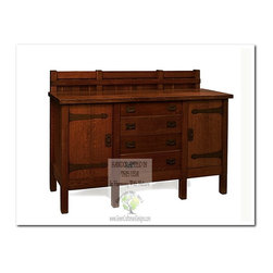 Mission Buffets and Sideboards - This beautiful buffet is an identical Historic Reproduction of Gustav Stickley's Buffet Server Model #817.  It is 100% Handcrafted in the United States by our Master-Craftsmen and Guaranteed for Life!