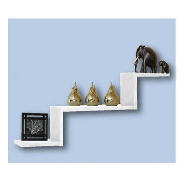 Creative Connectors - Trio2 - White - CARB-Compliant Wood Solid Composite with Melamine Finish. To clean wipe with aclean, damp cloth.. Floating Shelf - no visible connectors. All mounting hardware included. Holds up to 30 lbs. Finish: White . 6.5 in. D x 31.5 in. L x 14 in. HUse this sleek, stylish floating shelf to display decorative items or to create a focal point with your treasured keepsakes and photos.  Very versatile!  It's reversible and you can group mutliple shelves together to create your own unique look.
