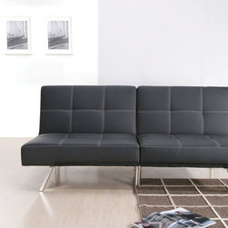 Katelin black Sofa bed - This fashionable Katelin black Sofa bed features a modern contemporary design and adjustable black PU cushions. It is easily to convert the sofa to a comfy bed by dropping the back cushions. - See more at: http://blog.bigapplefuton.com/2013/11/katelin-black-sofa-bed/#more-3245