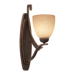 Kalco Lighting - Kalco Copenhagen 1-Light  Wall Bracket - Shown in Antique Copper finish with Ecru Glass. The Copenhagen Collection is an Art Deco interpretation of Tuscan design. The clean, arching lines and warm colors of Copenhagen are timeless, regardless of which Kalco Lighting cusomization options are chosen. Overall size is 5 in. W x 10.5 in. D 17.75 in. H.