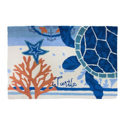 Homefires - Turtle Medallion Rug - Under the sea. This accent rug has the look and feel of wool without the high price tag. Use it to bring soothing color to your space, whether used in the bath, mudroom or kitchen.