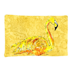 Caroline's Treasures - Flamingo on Yellow Fabric Standard Pillowcase Moisture Wicking Material - Standard White on back with artwork on the front of the pillowcase, 20.5 in w x 30 in. Nice jersy knit Moisture wicking material that wicks the moisture away from the head like a sports fabric (similar to Nike or Under Armour), breathable performance fabric makes for a nice sleeping experience and shows quality. Wash cold and dry medium. Fabric even gets softer as you wash it. No ironing required.