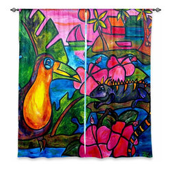 "DiaNoche Designs - Window Curtains Unlined - Patti Schermerhorn Iguana Eco Tour - Purchasing window curtains just got easier and better! Create a designer look to any of your living spaces with our decorative and unique ""Unlined Window Curtains."" Perfect for the living room, dining room or bedroom, these artistic curtains are an easy and inexpensive way to add color and style when decorating your home.  This is a woven poly material that filters outside light and creates a privacy barrier.  Each package includes two easy-to-hang, 3 inch diameter pole-pocket curtain panels.  The width listed is the total measurement of the two panels.  Curtain rod sold separately. Easy care, machine wash cold, tumbles dry low, iron low if needed.  Made in USA and Imported."