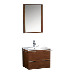 "Fresca - Fresca Cielo 24"" Wenge Brown Modern Bathroom Vanity w/ Mirror, Wenge Brown, Casc - The Fresca Cielo is one of the most compact vanities around.  This 24"" wall hung model comes with a ceramic sink and matching mirror.  Even small towel bars are attached to both sides of the vanity.  Many faucet models are available."