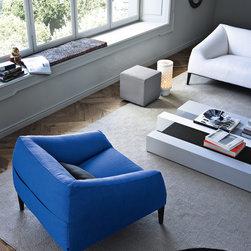 Carmel Collection - Poliform Carmel Sofa and Armchair with Woodstock coffee table and Ipsilon stool.