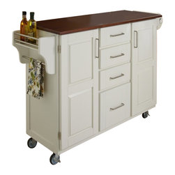 Home Styles - Home Styles Create-a-Cart in White Finish with Cherry Top - Home Styles - Kitchen Carts - 91001027G - Home Styles Create-a-cart in a white finish with a 3/4 inch Cherry finished wood top features solid wood construction, and 4-Utility drawers; 2 cabinet doors open to storage with adjustable shelf inside; Handy spice rack with Towel bar; Paper Towel holder; Heavy duty locking rubber casters for easy mobility and safety. Size: 48w 17.75d 35.5h. Assembly required.