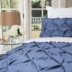 Crane & Canopy - Valencia Slate Blue Sham - Standard - Combining soft tones with modern textures, The Valencia slate blue duvet cover gives a look that is full of volume and elegance. The Valencia pintuck duvet cover in a slate blue will subtly bring your room to life.