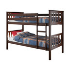 Sonax - Sonax CorLiving Monterey Solid Wood Twin (Single) Bunk Bed in Espresso Brown - Sonax - Bunk Beds - BMB475B - Stay organized by capitalizing on the space with the bunk bed from CorLiving. The rich Espresso Brown stained bed will enhance your child's bedroom decor with the simple multi-rail styling. The Monterey Collection is not only good looking but is upgraded featuring 12 slats of support on each bed - No box spring is needed so you can place your mattress directly on the sturdy wood slats. Rest comfortably knowing you've invested in a solidly constructed bed from CorLiving.