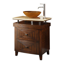 "Onyx Counter  Top Verdana Jr. Vessel Sink Bathroom sink vanity 28"" - By request, we introduce this junior version of our Verdana collection. It""s still the sleekest, the most colorful and make the most impression among the entire collection of vanities we carry. Its sole purpose is to complement many of today's modern bathroom decor. This bathroom vanity features durable wood construction with a thick honey color hand-polished solid marble top."
