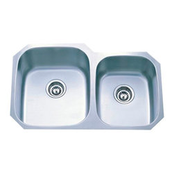 "Kingston Brass - Gourmetier Undermount Double Bowl Kitchen Sink Satin Nickel GKUD3221 - Single Handle Deck Mount, 1 Hole Sink Application, Fabricated from solid brass material for durability and reliability, Premium color finish resist tarnishing and corrosion, 180  Joystick type control mechanism, 1/2"" - 14 NPS male threaded shank inlets, Duraseal washerless cartridge, 2.2 GPM (8.3 LPM) Max at 60 PSI, Integrated removable aerator, 6"" spout reach from faucet body, 7"" overall height.. Manufacturer: Kingston Brass. Model: KB1403BL. UPC: 663370076473. Product Name: Single Handle Mono Deck Lavatory Faucet with Retail Pop-up & Optional Deck Plate. Collection / Series: VICTORIAN . Finish: Vintage Brass. Theme: Classic. Material: Brass. Type: Faucet. Features: Drip-free washerless cartridge system"