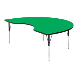 Correll Inc - Kidney Shape High Pressure Activity Table in - Finish: 48 in. x 72 in./Short/GreenDesigned for heaviest school and church use. 1.25 in. thick high density particle board top. Real high pressure top laminate. Resists scratches, paint, markers, crayons, and food and juice stains far better than melamine. Backer sheet to resist warping. Leg mounting brackets pre-attached with 7 screws. Three additional screws in leg plate. Oversize hairpin brace make this the strongest leg mounting system in the industry. Shoulder on leg set screw provides an extra margin of safety. Free speed wrench with every table, for fast, easy, height adjustments. Standard legs adjust from 21 in. to 30 in. in 1 in. increments. Short legs adjust from 16 in. to 25 in. in 1 in. increments. Pictured in Green. 48 in. W x 72 in. L. 48 in. W x 96 in. L