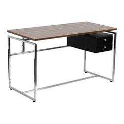 Flash Furniture - Flash Furniture Computer Desk with Two Drawer Pedestal - NAN-JN-2120-GG - This attractive desk provides plenty of work space with its large work surface that is featured in a beautiful laminate finish. The two-drawer pedestal allows you to neatly store away small items and paperwork. The appealing design of this desk will complement any work space. [NAN-JN-2120-GG]