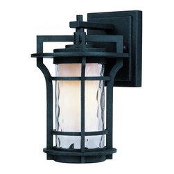 Joshua Marshal - One Light Water Glass Glass Black Oxide Wall Lantern - One Light Water Glass Glass Black Oxide Wall Lantern