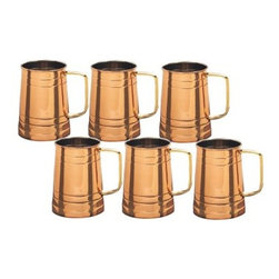 Old Dutch 16 oz. Solid Copper Tankard with Brass Handle - Set of 6 - The Old Dutch 16 oz. Solid Copper Tankard with Brass Handle - Set of 6 is perfect for enjoying a cold drink alone or with your friends. This set of 6 solid copper tankards are perfect for enjoying your favorite brew after a long day. These handsome hammered steins feature a solid copper construction with a protective, tarnish-resistant coating, nickel linings and a comfortable solid brass handles. About Old Dutch InternationalFamous for their copperware, Old Dutch International, Ltd. has been supplying the best in imported housewares and giftware to fine retailers throughout America since 1950. They offer a large assortment of housewares, including bakers racks, trivets, and pot racks in materials like chrome, colorful enamel, and stainless steel. Other product lines include wine racks, serving trays, specialty cookware, clocks, and other home accessories. Old Dutch warehouses and distributes their products from a 30,000 square foot facility in Saddle Brook, N.J.