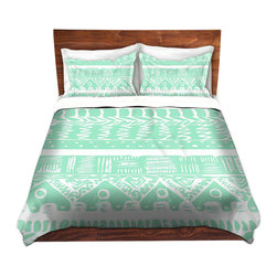 DiaNoche Designs - Duvet Cover Twill by Organic Saturation - Boho Mint Aztec - Lightweight and soft brushed twill Duvet Cover sizes Twin, Queen, King.  SHAMS NOT INCLUDED.  This duvet is designed to wash upon arrival for maximum softness.   Each duvet starts by looming the fabric and cutting to the size ordered.  The Image is printed and your Duvet Cover is meticulously sewn together with ties in each corner and a concealed zip closure.  All in the USA!!  Poly top with a Cotton Poly underside.  Dye Sublimation printing permanently adheres the ink to the material for long life and durability. Printed top, cream colored bottom, Machine Washable, Product may vary slightly from image.