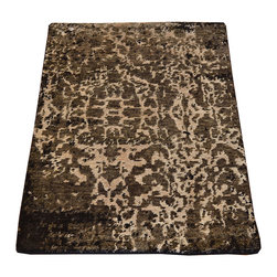 1800GetARug.com - Area Rug, 2'x3' Modern Mat Wool & Silk Hand Knotted Abstract Design Rug SH7406 - Area Rug, 2'x3' Modern Mat Wool & Silk Hand Knotted Abstract Design Rug SH7406