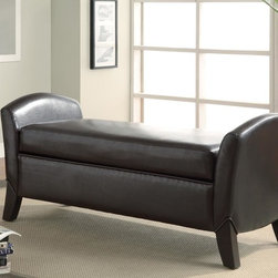 Coaster - Dark Brown Transitional Bench - Classy and timeless storage bench made with durable dark brown leather-like vinyl and cappuccino legs.