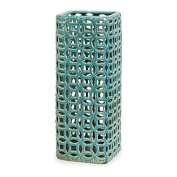 Ceramic Teal Geometric Vase - Hand cut ceramic with a vibrant teal color and glaze creates interest  in the Ceramic Teal Geometric Vase. Pair with your favorite color flowers for an immediate jolt of colorful beauty. Buy several to use as decorative pieces or as a centerpiece for your kitchen, coffee or end tables.