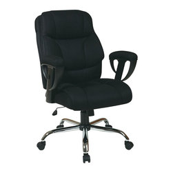 Office Star - Office Star Executive Chair with Adjustable Arms in Black - Office Star - Office Chairs - EX10983M - Executive Big Mans Chair with Mesh Seat and Back Padded Height Adjustable Arms and Chrome Base. Supports up to 350 lbs. Pneumatic seat height adjustment 360 degree swivel seat pivot tilt with tilt tension and tilt lock.