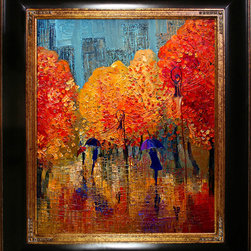 overstockArt.com - Kopania - Autumn - Autumn is a beautiful image of trees and landscape during fall when nature changes its colors from green tu red, yellow and brown. This canvas print will bring colors and beauty to every room. Justyna Kopania is from Warszawa, Poland. In her words when she paints she tries to show the 'world', which could be seen by looking at reality that surrounds us, from another perspective, unusual, remote, sometimes through the eyes of the child, sometimes music, composer, or someone who looks lichen on the sea, the moon , the sky and the stars ..., the river ... looks out the window and looks out into the street. Walking down the street looking at people's faces. In rain, snow or fog. Perhaps the world that surrounds us really is quite different than we perceive it every day.