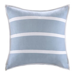Harbor House - Harbor House Crystal Beach Euro Sham - The Euro shams in blue with white strapping add just a bit of nautical feel to the collection. face and back: 100% cotton fabric, Lining: 100% cotton