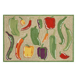 """Trans-Ocean Inc - Peppers Hot 24"""" x 36"""" Indoor/Outdoor Rug - Richly blended colors add vitality and sophistication to playful novelty designs. Lightweight loosely tufted Indoor Outdoor rugs made of synthetic materials in China and UV stabilized to resist fading. These whimsical rugs are sure to liven up any indoor or outdoor space, and their easy care and durability make them ideal for kitchens, bathrooms, and porches; Primary color: Neutral;"""