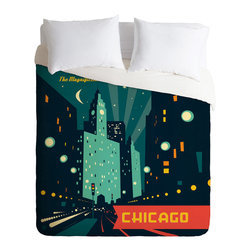 DENY Designs - Anderson Design Group Chicago Mag Mile Duvet Cover - Turn your basic, boring down comforter into the super stylish focal point of your bedroom. Our Luxe Duvet is made from a heavy-weight luxurious woven polyester with a 50% cotton/50% polyester cream bottom. It also includes a hidden zipper with interior corner ties to secure your comforter. it's comfy, fade-resistant, and custom printed for each and every customer.