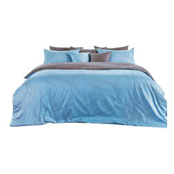 Blooming Home Decor - Modern Sky Blue & Brown Swirl Queen Duvet Cover Set, King - Cool blues and grayish brown combine to create the peaceful ambiance found through this queen duvet set. Those who are seeking a subdued yet modern addition to their bedroom will enjoy the tranquility brought into the home with this soothing, swirling design sure to lull you off to dreamland. Best of all, the color combination will blend well with almost any bedroom design imaginable.
