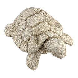 Zeckos - Stone Finish Tortoise Outdoor Garden Statue Turtle - This beautiful cold cast resin tortoise statue is finished to look like it was carved from stone. The turtle measures 14 inches long, 10 1/2 inches wide and 6 inches tall. It looks great in gardens, flowerbeds and lawns. This tortoise is brand new, and makes a great gift for any turtle lover.