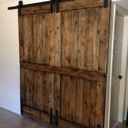 Sliding Barn Door - Double-size Distressed Knotty Alder - Thomas Porter
