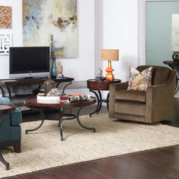 Hammary - Hammary Barrow 5 Piece Round Coffee Table Set w/ Mahogany Top & Metal Base - - 358-911-5-SET.  Product features: Belongs to Barrow Collection by Hammary; Round Table Top Shape; Mahogany Veneer Top; Metal Base. Product includes: Cocktail Table (1); Chairside Table (1); End Table (1); Sofa Table (1); Entertainment Console (1). 5 Piece Round Coffee Table Set w/ Mahogany Top & Metal Base belongs to Barrow Collection by Hammary.