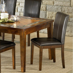 "Steve Silver Furniture - Davenport Parsons Chair (Set of 2) - The Davenport Parsons Chair offers a beautiful finish with a brown vinyl seat. Casual styling comes together to create the perfect blend of beauty and functionality. Features: -Parsons chair.-Contemporary style.-Corner blocked.-Tongue and groove joints.-Seat upholstered in Brown vinyl fabric.-Davenport collection.-Collection: Davenport.-Finish: Dark Oak.-Distressed: No.-Powder Coated Finish: No.-Gloss Finish: Yes.-Frame Material: Wood, Mdf, Pu, Foam.-Solid Wood Construction: No.-Non-Toxic: Yes.-Scratch Resistant: No.-Rust Resistant: No.-Stain Resistant: No.-Fire Retardant: No.-Mildew Resistant: No.-Arms Included: No.-Upholstered Seat: Yes -Seat Upholstery Material: Vinyl.-Seat Upholstery Color: Dark Brown.-Removable Seat Cushions: No.-Seat Cushion Fill Material: Foam.-Removable Seat Cushion Cover: No.-Tufted Seat Upholstery: No.-Welt on Seat Cushions: Yes..-Upholstered Back: Yes -Back Upholstery Material: Vinyl.-Back Upholstery Color: Dark Brown.-Removable Back Cushions: No.-Back Cushion Fill Material: Foam.-Removable Back Cushion Cover: No.-Tufted Back Upholstery: No.-Welt on Back Cushions: No..-Nailhead Trim: No.-Swivel: No.-Foldable: No.-Stackable: No.-Number of Legs: 4.-Leg Material: Wood.-Casters: No.-Protective Floor Glides: Yes.-Adjustable Height: No.-Ergonomic Design: No.-Saddle Seat: No.-Outdoor Use: No.-Swatch Available: Yes.-Commercial Use: No.-Recycled Content: No.-Eco-Friendly: Yes.-Product Care: Wipe clean with a dry cloth.Specifications: -FSC Certified: No.-ISTA 3A Certified: No.-General Conformity Certificate: No.-Green Guard Certified: No.-ISO 14000 Certified: No.-ANSI BIFMA Certified: No.Dimensions: -Overall Height - Top to Bottom: 38"".-Overall Width - Side to Side: 17"".-Overall Depth - Front to Back: 18"".-Seat Height: 18"".-Seat Width - Side to Side: 17"".-Seat Depth - Front to Back: 17.25'.-Overall Product Weight: 17.6 lbs.Assembly: -Assembly Required: Yes.-Additional Parts Required: No.Warranty: -Manufacturer provides one year limited warranty.-Product Warranty: 1 Year limited warranty."
