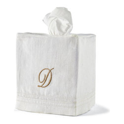 Frontgate - Linen Tissue Box Slipcover - Choose from White or Ivory. Monogram available for each. Pure-linen fabric is elegant, durable, and machine washable. Beautiful gift box accompanies guest towels. Elastic lip helps wastebasket slipcover fit snuggly. Dress up your guest bathroom with personalized Turkish Linen Bath Accessories. Pure linen is tightly woven and adorned with decorative hemstitching. The absorbent guest towels, which arrive in a gorgeous box perfect for gift giving, grow continually softer with use. The tissue and wastebasket slipcovers spruce up standard small tissue boxes and the included stainless steel wastebasket.  .  .  .  .  . Tissue slipcover fits over the top of a standard 4-side small tissue box . Imported. Please note: Personalized items are non-returnable.