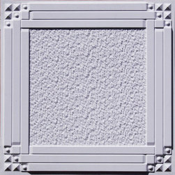 209 White Matte Faux Tin Ceiling Tiles 24x24 - Deco Corners - Intersecting bold, wide bars interspersed at the corners with tiny geometric pyramid shapes, all surrounding a feathery textured center, grace our 209 Deco Corners faux tin decorative ceiling tile. The unique design of this tile is available in several colors and textures, including a bold and sophisticated black, a beautiful brown-and-golden brass, and an even richer and more lustrous antique copper. The 209 Deco Corners decorative ceiling tile design combines a touch of 1930s glamor with just enough of that modern sophistication to transport your home or business right into the 21st century.