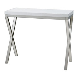Uttermost - Uttermost Bjorn Modern Console Table 24386 - Chrome metal base with gloss white, crocodile-embossed, polyurethane tabletop.