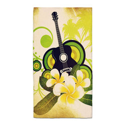 Plumeria and Guitar Hawaiian Hand Towel - Hand Towels are made of a super soft poly fiber fabric with 2mm pile.