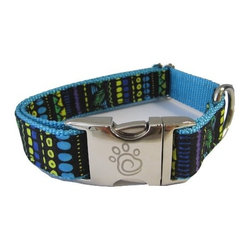 "chief furry officer - Designer Fabric Dog Collar - Sherman Oaks, Medium - cfo proudly presents""sherman oaks"". Fun and fabulous, our 100% cotton print captures a playful stripe of purple, black, green yellow, royal blue and turquoise. Paired with our Turquoise webbing, sherman oaks is a great choice."