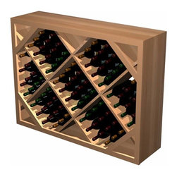 Designer Series Wine Rack- Diamond Bin below Archway (Solid Material) - Add an eye catching focal point to your wine cellar by incorporating a Diamond Bin Archway. The Diamond Bin Archway consists of three separate components; an archway, a table top, and a half height diamond bin wooden wine rack.