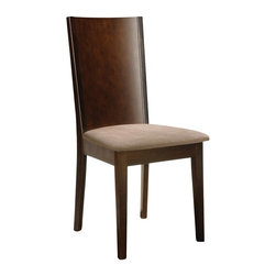 Sunpan Imports - Brazil Curved Back Padded Dining Side Chairs - 2 Pc Set - High back dining chair with solid wood legs and a veneer back. Neutral faux-suede seat. Espresso brown finish. Made in Malaysia. Assembly required. 19 in. L x 18 in. W x 38 in. H