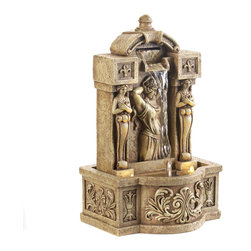 KOOLEKOO - Outdoor Roman Courtyard Water Fountain - The images of classic statuary adds their timeless beauty to a faux stone tabletop fountain. This marvelous decoration beautifies your surroundings with magical and dazzling light.